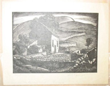 John Frederic Greenwood (British, 1885-1954). <em>The Couistone School</em>, n.d. Woodcut on rice paper, Sheet: 5 15/16 x 7 5/8 in. (15.1 x 19.4 cm). Brooklyn Museum, Museum Collection Fund, 25.927.1 (Photo: Brooklyn Museum, CUR.25.927.1.jpg)