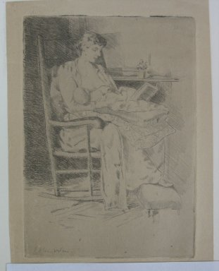 Julian Alden Weir (American, 1852-1919). <em>Mother and Child</em>, 19th century. Etching on tan Japan paper, Sheet: 7 3/16 x 5 1/8 in. (18.3 x 13 cm). Brooklyn Museum, Gift of Elizabeth Luther Cary, 25.93 (Photo: Brooklyn Museum, CUR.25.93.jpg)