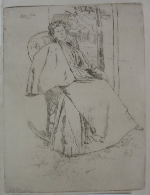 Julian Alden Weir (American, 1852-1919). <em>The Rocking Chair</em>, 1890. Etching on Japan paper, Sheet: 10 1/8 x 7 7/16 in. (25.7 x 18.9 cm). Brooklyn Museum, Gift of Elizabeth Luther Cary, 25.96 (Photo: Brooklyn Museum, CUR.25.96.jpg)