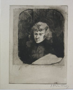 Julian Alden Weir (American, 1852-1919). <em>Study by Night</em>, 19th century. Etching and drypoint on wove paper, Sheet: 7 1/16 x 5 3/16 in. (17.9 x 13.2 cm). Brooklyn Museum, Gift of Elizabeth Luther Cary, 25.97 (Photo: Brooklyn Museum, CUR.25.97.jpg)