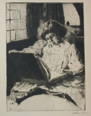 Julian Alden Weir (American, 1852-1919). <em>The Picture Book</em>, 19th century. Etching and drypoint on Japan type wove paper, Sheet: 12 x 8 3/4 in. (30.5 x 22.2 cm). Brooklyn Museum, Gift of Elizabeth Luther Cary, 25.98 (Photo: Brooklyn Museum, CUR.25.98.jpg)