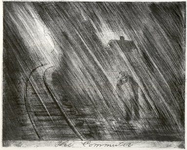 """George """"Pop"""" Hart (American, 1868-1933). <em>The Commuter</em>, 1926. Soft ground etching, aquatint, roulette, drypoint Brooklyn Museum, Brooklyn Museum Collection, 26.446. © artist or artist's estate (Photo: Brooklyn Museum, CUR.26.446.jpg)"""