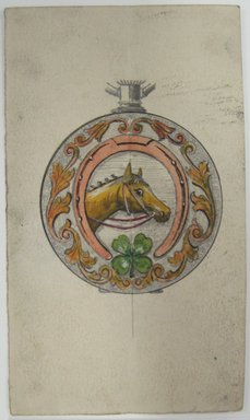 Frederick John Beck (American, 1864-1917). <em>Watch-case Design</em>. Graphite, ink and watercolor on paper, 4 7/16 x 2 9/16 in. (11.3 x 6.5 cm). Brooklyn Museum, Gift of Herbert F. Beck and Frederick Lorenze Beck, 26.515.1. Creative Commons-BY (Photo: Brooklyn Museum, CUR.26.515.1.jpg)