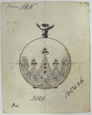 Frederick John Beck (American, 1864-1917). <em>Watch-case Design</em>. Graphite, ink and watercolor on paper, 2 7/8 x 2 1/4 in. (7.3 x 5.7 cm). Brooklyn Museum, Gift of Herbert F. Beck and Frederick Lorenze Beck, 26.515.10. Creative Commons-BY (Photo: Brooklyn Museum, CUR.26.515.10.jpg)