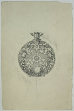 Frederick John Beck (American, 1864-1917). <em>Watch-case Design</em>. Graphite on paper, 4 7/16 x 2 7/8 in. (11.3 x 7.3 cm). Brooklyn Museum, Gift of Herbert F. Beck and Frederick Lorenze Beck, 26.515.102. Creative Commons-BY (Photo: Brooklyn Museum, CUR.26.515.102.jpg)
