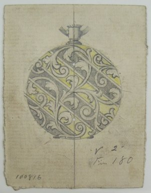 Frederick John Beck (American, 1864-1917). <em>Watch-case Design</em>. Graphite, ink and watercolor on paper, 2 15/16 x 2 1/4 in. (7.5 x 5.7 cm). Brooklyn Museum, Gift of Herbert F. Beck and Frederick Lorenze Beck, 26.515.12. Creative Commons-BY (Photo: Brooklyn Museum, CUR.26.515.12.jpg)