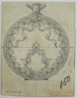 Frederick John Beck (American, 1864-1917). <em>Watch-case Design</em>. Graphite on paper, 2 7/8 x 2 1/4 in. (7.3 x 5.7 cm). Brooklyn Museum, Gift of Herbert F. Beck and Frederick Lorenze Beck, 26.515.13. Creative Commons-BY (Photo: Brooklyn Museum, CUR.26.515.13.jpg)