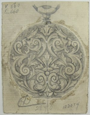 Frederick John Beck (American, 1864-1917). <em>Watch-case Design</em>. Graphite on paper, 2 7/8 x 2 1/4 in. (7.4 x 5.7 cm). Brooklyn Museum, Gift of Herbert F. Beck and Frederick Lorenze Beck, 26.515.14. Creative Commons-BY (Photo: Brooklyn Museum, CUR.26.515.14.jpg)