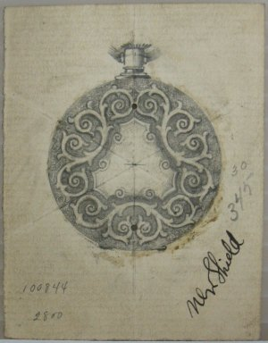 Frederick John Beck (American, 1864-1917). <em>Watch-case Design</em>. Graphite on paper, 2 15/16 x 2 1/4 in. (7.5 x 5.7 cm). Brooklyn Museum, Gift of Herbert F. Beck and Frederick Lorenze Beck, 26.515.16. Creative Commons-BY (Photo: Brooklyn Museum, CUR.26.515.16.jpg)
