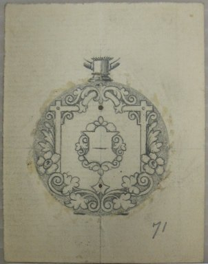 Frederick John Beck (American, 1864-1917). <em>Watch-case Design</em>. Graphite on paper, 2 7/8 x 2 3/16 in. (7.3 x 5.6 cm). Brooklyn Museum, Gift of Herbert F. Beck and Frederick Lorenze Beck, 26.515.17. Creative Commons-BY (Photo: Brooklyn Museum, CUR.26.515.17.jpg)