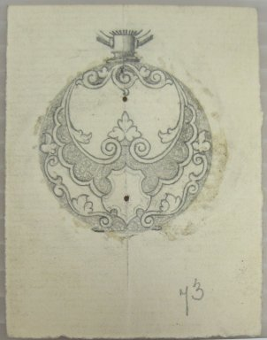 Frederick John Beck (American, 1864-1917). <em>Watch-case Design</em>. Graphite on paper, 2 15/16 x 2 3/16 in. (7.5 x 5.5 cm). Brooklyn Museum, Gift of Herbert F. Beck and Frederick Lorenze Beck, 26.515.18. Creative Commons-BY (Photo: Brooklyn Museum, CUR.26.515.18.jpg)