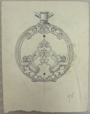 Frederick John Beck (American, 1864-1917). <em>Watch-case Design</em>. Graphite on paper, 2 7/8 x 2 1/4 in. (7.3 x 5.7 cm). Brooklyn Museum, Gift of Herbert F. Beck and Frederick Lorenze Beck, 26.515.19. Creative Commons-BY (Photo: Brooklyn Museum, CUR.26.515.19.jpg)