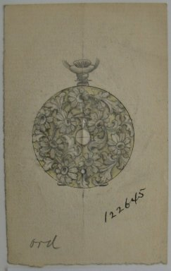 Frederick John Beck (American, 1864-1917). <em>Watch-case Design</em>. Graphite, ink and watercolor on paper, 3 1/2 x 2 3/16 in. (8.9 x 5.6 cm). Brooklyn Museum, Gift of Herbert F. Beck and Frederick Lorenze Beck, 26.515.2. Creative Commons-BY (Photo: Brooklyn Museum, CUR.26.515.2.jpg)