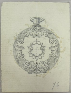 Frederick John Beck (American, 1864-1917). <em>Watch-case Design</em>. Graphite on paper, 2 15/16 x 2 3/16 in. (7.5 x 5.6 cm). Brooklyn Museum, Gift of Herbert F. Beck and Frederick Lorenze Beck, 26.515.20. Creative Commons-BY (Photo: Brooklyn Museum, CUR.26.515.20.jpg)