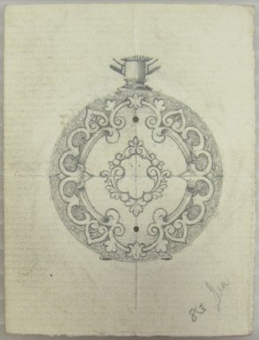 Frederick John Beck (American, 1864-1917). <em>Watch-case Design</em>. Graphite on paper, 2 15/16 x 2 3/16 in. (7.5 x 5.6 cm). Brooklyn Museum, Gift of Herbert F. Beck and Frederick Lorenze Beck, 26.515.21. Creative Commons-BY (Photo: Brooklyn Museum, CUR.26.515.21.jpg)