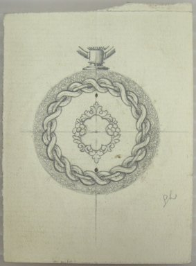 Frederick John Beck (American, 1864-1917). <em>Watch-case Design</em>. Graphite on paper, 3 1/16 x 2 1/4 in. (7.8 x 5.7 cm). Brooklyn Museum, Gift of Herbert F. Beck and Frederick Lorenze Beck, 26.515.22. Creative Commons-BY (Photo: Brooklyn Museum, CUR.26.515.22.jpg)