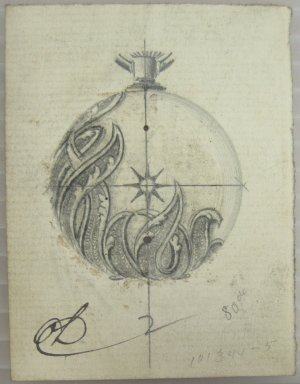 Frederick John Beck (American, 1864-1917). <em>Watch-case Design</em>. Graphite and ink on paper, 2 15/16 x 2 1/4 in. (7.5 x 5.7 cm). Brooklyn Museum, Gift of Herbert F. Beck and Frederick Lorenze Beck, 26.515.24. Creative Commons-BY (Photo: Brooklyn Museum, CUR.26.515.24.jpg)