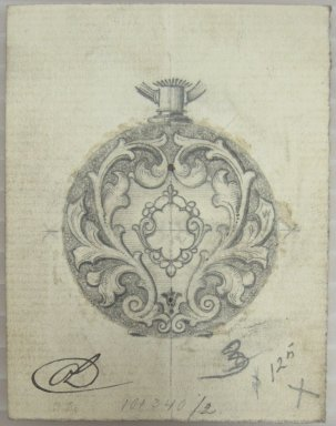 Frederick John Beck (American, 1864-1917). <em>Watch-case Design</em>. Graphite and ink on paper, 2 7/8 x 2 1/4 in. (7.3 x 5.7 cm). Brooklyn Museum, Gift of Herbert F. Beck and Frederick Lorenze Beck, 26.515.26. Creative Commons-BY (Photo: Brooklyn Museum, CUR.26.515.26.jpg)