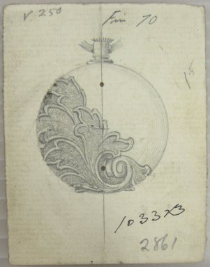 Frederick John Beck (American, 1864-1917). <em>Watch-case Design</em>. Graphite on paper, 2 15/16 x 2 1/4 in. (7.5 x 5.7 cm). Brooklyn Museum, Gift of Herbert F. Beck and Frederick Lorenze Beck, 26.515.27. Creative Commons-BY (Photo: Brooklyn Museum, CUR.26.515.27.jpg)