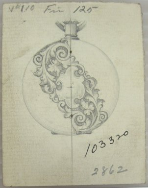 Frederick John Beck (American, 1864-1917). <em>Watch-case Design</em>. Graphite on paper, 2 7/8 x 2 1/4 in. (7.3 x 5.7 cm). Brooklyn Museum, Gift of Herbert F. Beck and Frederick Lorenze Beck, 26.515.28. Creative Commons-BY (Photo: Brooklyn Museum, CUR.26.515.28.jpg)