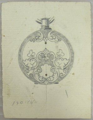 Frederick John Beck (American, 1864-1917). <em>Watch-case Design</em>. Graphite on paper, 2 15/16 x 2 3/16 in. (7.5 x 5.6 cm). Brooklyn Museum, Gift of Herbert F. Beck and Frederick Lorenze Beck, 26.515.29. Creative Commons-BY (Photo: Brooklyn Museum, CUR.26.515.29.jpg)