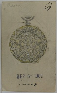 Frederick John Beck (American, 1864-1917). <em>Watch-case Design</em>, September 5, 1902. Graphite, ink and watercolor on paper, 3 11/16 x 2 3/16 in. (9.4 x 5.6 cm). Brooklyn Museum, Gift of Herbert F. Beck and Frederick Lorenze Beck, 26.515.3. Creative Commons-BY (Photo: Brooklyn Museum, CUR.26.515.3.jpg)