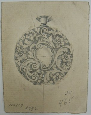 Frederick John Beck (American, 1864-1917). <em>Watch-case Design</em>. Graphite on paper, 2 15/16 x 2 1/4 in. (7.5 x 5.7 cm). Brooklyn Museum, Gift of Herbert F. Beck and Frederick Lorenze Beck, 26.515.35. Creative Commons-BY (Photo: Brooklyn Museum, CUR.26.515.35.jpg)