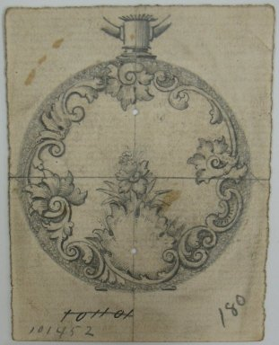 Frederick John Beck (American, 1864-1917). <em>Watch-case Design</em>. Graphite on paper, 2 15/16 x 2 5/16 in. (7.5 x 5.9 cm). Brooklyn Museum, Gift of Herbert F. Beck and Frederick Lorenze Beck, 26.515.36. Creative Commons-BY (Photo: Brooklyn Museum, CUR.26.515.36.jpg)