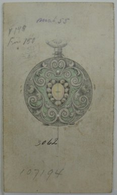 Frederick John Beck (American, 1864-1917). <em>Watch-case Design</em>. Graphite, ink and watercolor on paper, 3 5/8 x 2 1/8 in. (9.2 x 5.4 cm). Brooklyn Museum, Gift of Herbert F. Beck and Frederick Lorenze Beck, 26.515.4. Creative Commons-BY (Photo: Brooklyn Museum, CUR.26.515.4.jpg)