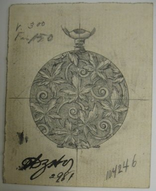 Frederick John Beck (American, 1864-1917). <em>Watch-case Design</em>. Graphite and ink on paper, 2 7/8 x 2 5/16 in. (7.3 x 5.9 cm). Brooklyn Museum, Gift of Herbert F. Beck and Frederick Lorenze Beck, 26.515.40. Creative Commons-BY (Photo: Brooklyn Museum, CUR.26.515.40.jpg)