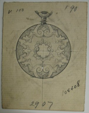 Frederick John Beck (American, 1864-1917). <em>Watch-case Design</em>. Graphite and ink on paper, 2 15/16 x 2 1/4 in. (7.5 x 5.7 cm). Brooklyn Museum, Gift of Herbert F. Beck and Frederick Lorenze Beck, 26.515.41. Creative Commons-BY (Photo: Brooklyn Museum, CUR.26.515.41.jpg)