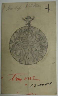 Frederick John Beck (American, 1864-1917). <em>Watch-case Design</em>. Graphite and ink on paper, 3 5/8 x 2 3/16 in. (9.2 x 5.6 cm). Brooklyn Museum, Gift of Herbert F. Beck and Frederick Lorenze Beck, 26.515.42. Creative Commons-BY (Photo: Brooklyn Museum, CUR.26.515.42.jpg)