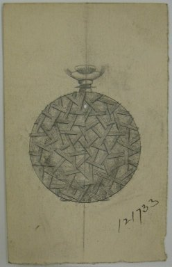Frederick John Beck (American, 1864-1917). <em>Watch-case Design</em>. Graphite and ink on paper, 3 1/2 x 2 1/4 in. (8.9 x 5.7 cm). Brooklyn Museum, Gift of Herbert F. Beck and Frederick Lorenze Beck, 26.515.43. Creative Commons-BY (Photo: Brooklyn Museum, CUR.26.515.43.jpg)