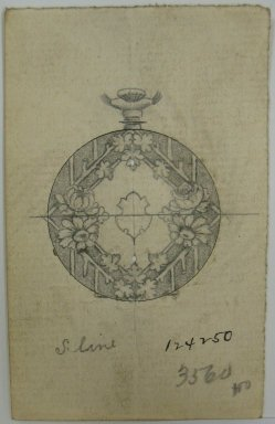 Frederick John Beck (American, 1864-1917). <em>Watch-case Design</em>. Graphite and ink on paper, 3 1/2 x 2 3/16 in. (8.9 x 5.6 cm). Brooklyn Museum, Gift of Herbert F. Beck and Frederick Lorenze Beck, 26.515.44. Creative Commons-BY (Photo: Brooklyn Museum, CUR.26.515.44.jpg)