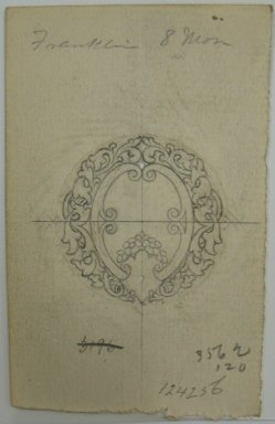 Frederick John Beck (American, 1864-1917). <em>Watch-case Design</em>. Graphite on paper, 3 9/16 x 2 3/16 in. (9 x 5.6 cm). Brooklyn Museum, Gift of Herbert F. Beck and Frederick Lorenze Beck, 26.515.45. Creative Commons-BY (Photo: Brooklyn Museum, CUR.26.515.45.jpg)