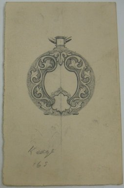 Frederick John Beck (American, 1864-1917). <em>Watch-case Design</em>. Graphite on paper, 3 15/16 x 2 1/2 in. (10 x 6.4 cm). Brooklyn Museum, Gift of Herbert F. Beck and Frederick Lorenze Beck, 26.515.49. Creative Commons-BY (Photo: Brooklyn Museum, CUR.26.515.49.jpg)