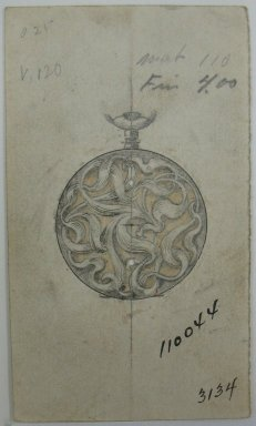Frederick John Beck (American, 1864-1917). <em>Watch-case Design</em>. Graphite, ink and watercolor on paper, 3 5/8 x 2 1/16 in. (9.2 x 5.2 cm). Brooklyn Museum, Gift of Herbert F. Beck and Frederick Lorenze Beck, 26.515.5. Creative Commons-BY (Photo: Brooklyn Museum, CUR.26.515.5.jpg)