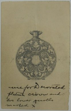 Frederick John Beck (American, 1864-1917). <em>Watch-case Design</em>. Graphite and ink on paper, 3 15/16 x 2 1/2 in. (10 x 6.4 cm). Brooklyn Museum, Gift of Herbert F. Beck and Frederick Lorenze Beck, 26.515.50. Creative Commons-BY (Photo: Brooklyn Museum, CUR.26.515.50.jpg)