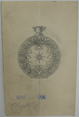 Frederick John Beck (American, 1864-1917). <em>Watch-case Design</em>. Graphite on paper, 3 15/16 x 2 1/2 in. (10 x 6.4 cm). Brooklyn Museum, Gift of Herbert F. Beck and Frederick Lorenze Beck, 26.515.51. Creative Commons-BY (Photo: Brooklyn Museum, CUR.26.515.51.jpg)