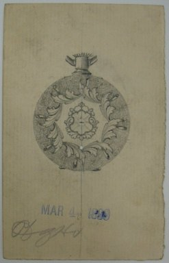Frederick John Beck (American, 1864-1917). <em>Watch-case Design</em>. Graphite and ink on paper, 3 15/16 x 2 1/2 in. (10 x 6.4 cm). Brooklyn Museum, Gift of Herbert F. Beck and Frederick Lorenze Beck, 26.515.53. Creative Commons-BY (Photo: Brooklyn Museum, CUR.26.515.53.jpg)