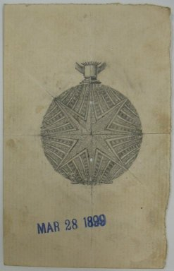 Frederick John Beck (American, 1864-1917). <em>Watch-case Design</em>. Graphite on paper, 3 15/16 x 2 1/2 in. (10 x 6.4 cm). Brooklyn Museum, Gift of Herbert F. Beck and Frederick Lorenze Beck, 26.515.55. Creative Commons-BY (Photo: Brooklyn Museum, CUR.26.515.55.jpg)