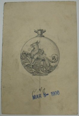 Frederick John Beck (American, 1864-1917). <em>Watch-case Design</em>. Graphite on paper, 4 3/8 x 2 15/16 in. (11.1 x 7.5 cm). Brooklyn Museum, Gift of Herbert F. Beck and Frederick Lorenze Beck, 26.515.56. Creative Commons-BY (Photo: Brooklyn Museum, CUR.26.515.56.jpg)