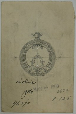 Frederick John Beck (American, 1864-1917). <em>Watch-case Design</em>, March 9, 1900. Graphite on paper, 4 7/16 x 2 15/16 in. (11.3 x 7.5 cm). Brooklyn Museum, Gift of Herbert F. Beck and Frederick Lorenze Beck, 26.515.58. Creative Commons-BY (Photo: Brooklyn Museum, CUR.26.515.58.jpg)