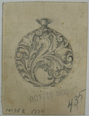 Frederick John Beck (American, 1864-1917). <em>Watch-case Design</em>. Graphite and ink on paper, 2 15/16 x 2 3/16 in. (7.5 x 5.6 cm). Brooklyn Museum, Gift of Herbert F. Beck and Frederick Lorenze Beck, 26.515.59. Creative Commons-BY (Photo: Brooklyn Museum, CUR.26.515.59.jpg)