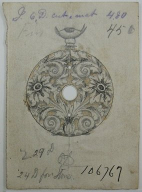 Frederick John Beck (American, 1864-1917). <em>Watch-case Design</em>. Graphite, ink and watercolor on paper, 3 x 2 3/16 in. (7.6 x 5.6 cm). Brooklyn Museum, Gift of Herbert F. Beck and Frederick Lorenze Beck, 26.515.6. Creative Commons-BY (Photo: Brooklyn Museum, CUR.26.515.6.jpg)