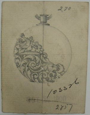 Frederick John Beck (American, 1864-1917). <em>Watch-case Design</em>. Graphite on paper, 2 15/16 x 2 1/4 in. (7.5 x 5.7 cm). Brooklyn Museum, Gift of Herbert F. Beck and Frederick Lorenze Beck, 26.515.60. Creative Commons-BY (Photo: Brooklyn Museum, CUR.26.515.60.jpg)