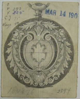 Frederick John Beck (American, 1864-1917). <em>Watch-case Design</em>. Graphite, ink and watercolor on paper, 2 7/8 x 2 5/16 in. (7.3 x 5.9 cm). Brooklyn Museum, Gift of Herbert F. Beck and Frederick Lorenze Beck, 26.515.61. Creative Commons-BY (Photo: Brooklyn Museum, CUR.26.515.61.jpg)
