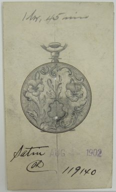 Frederick John Beck (American, 1864-1917). <em>Watch-case Design</em>. Graphite and ink on paper, 3 11/16 x 2 1/8 in. (9.4 x 5.4 cm). Brooklyn Museum, Gift of Herbert F. Beck and Frederick Lorenze Beck, 26.515.62. Creative Commons-BY (Photo: Brooklyn Museum, CUR.26.515.62.jpg)