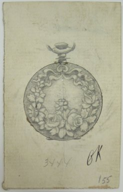 Frederick John Beck (American, 1864-1917). <em>Watch-case Design</em>. Graphite and ink on paper, 3 9/16 x 2 1/4 in. (9 x 5.7 cm). Brooklyn Museum, Gift of Herbert F. Beck and Frederick Lorenze Beck, 26.515.64. Creative Commons-BY (Photo: Brooklyn Museum, CUR.26.515.64.jpg)