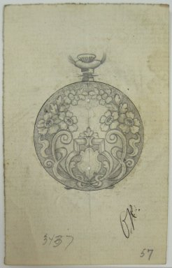Frederick John Beck (American, 1864-1917). <em>Watch-case Design</em>. Graphite and ink on paper, 3 1/2 x 2 1/4 in. (8.9 x 5.7 cm). Brooklyn Museum, Gift of Herbert F. Beck and Frederick Lorenze Beck, 26.515.65. Creative Commons-BY (Photo: Brooklyn Museum, CUR.26.515.65.jpg)